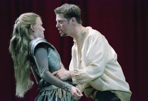 as Hamlet, Alabama Shakesepeare Festival, 2002; with Devon Sorvari as Ophelia
