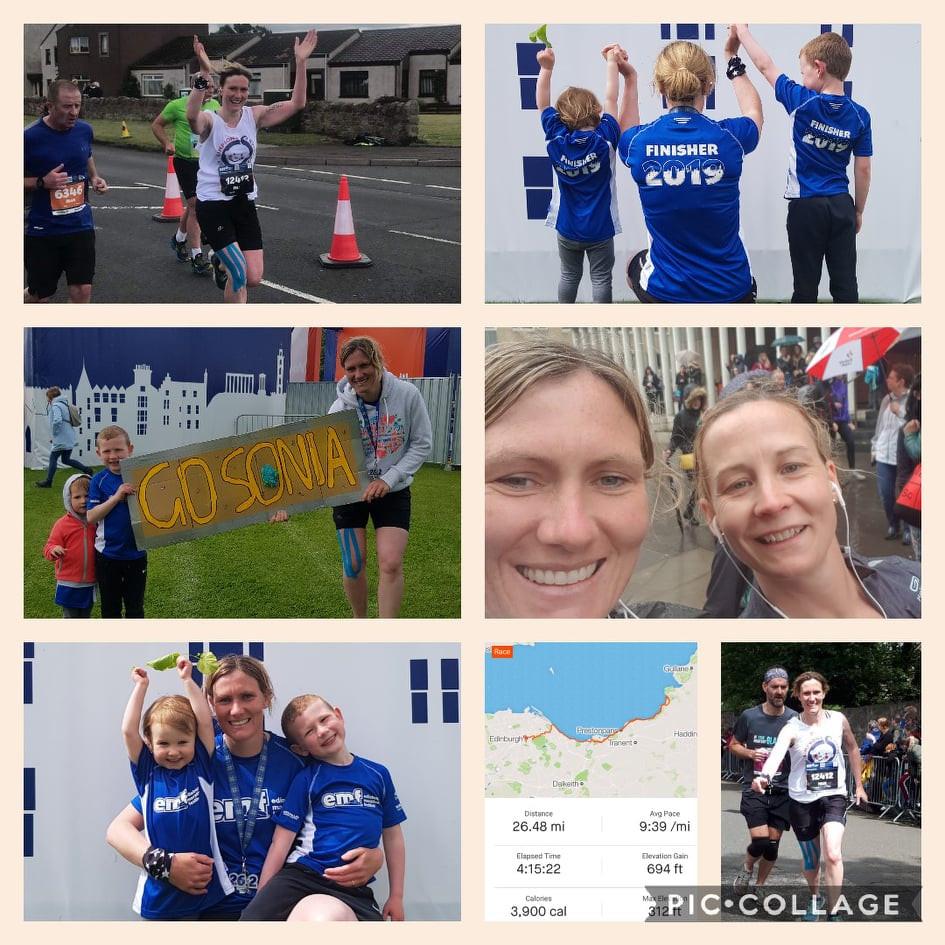 Sonia running for SSCB Edinburgh Marathon 2019