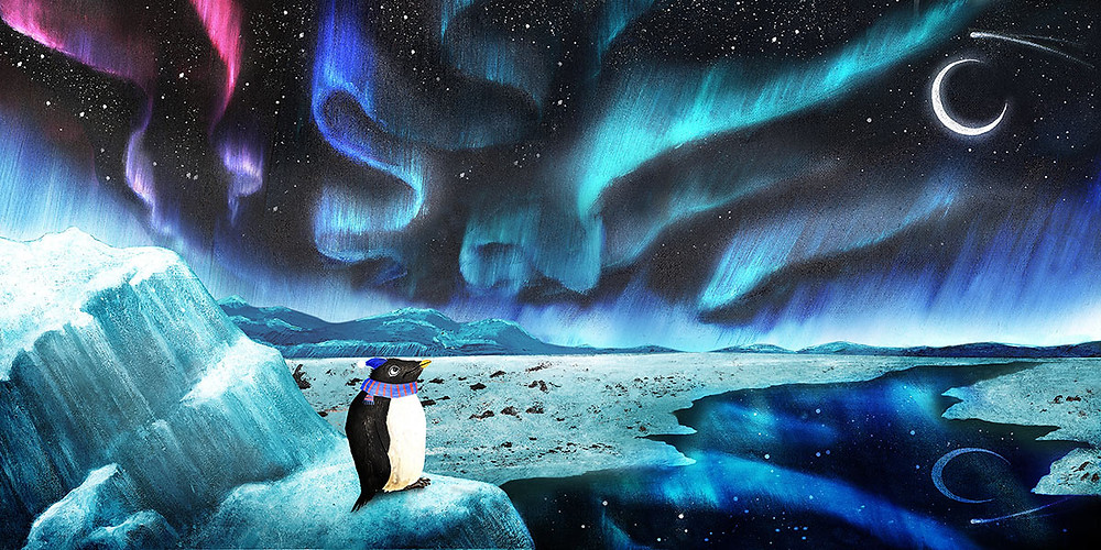 Oil paints used to illustrate the magical Southern Lights