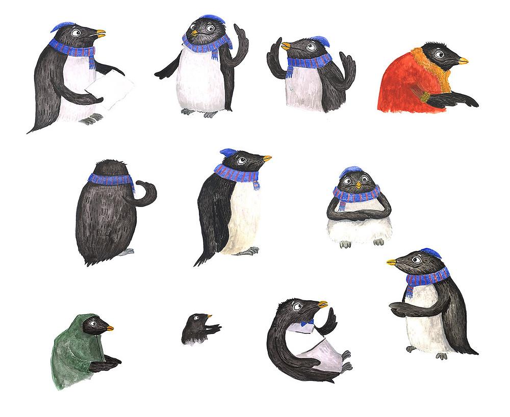 Penguin character studies by illustrator Emma Latham