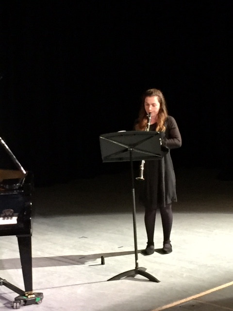 Laura playing her clarinet at recent concert, having achieved grade 8 and her performance diploma