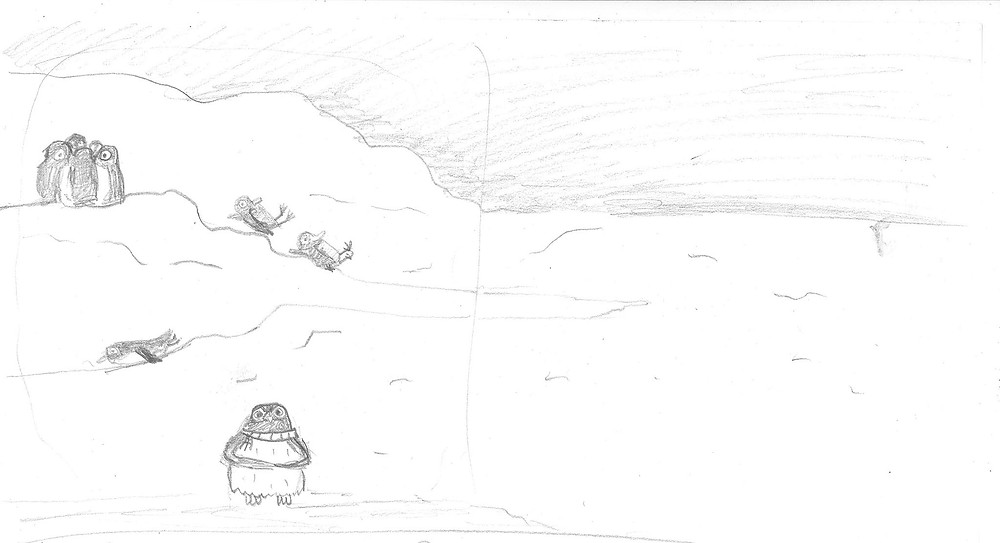 Illustrator sketch of Paul the penguin with fellow penguins for children's book Winging it!