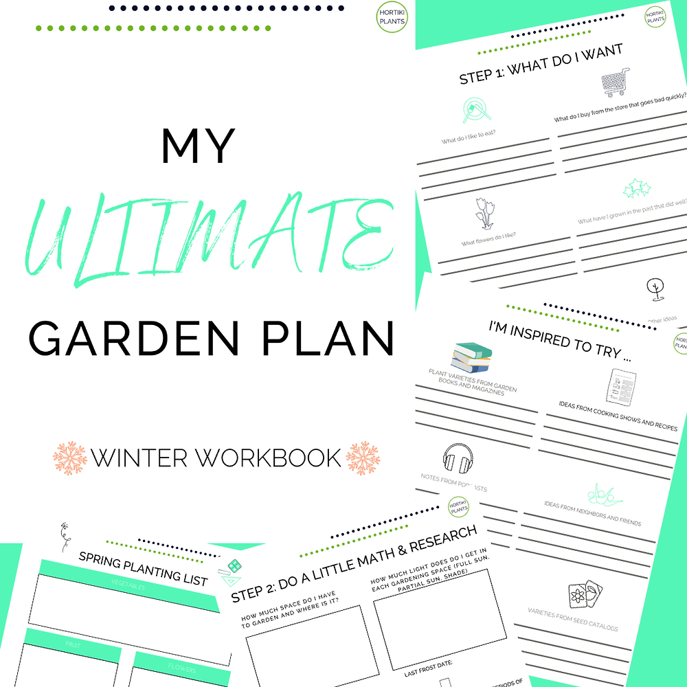 Image of gardening planning worksheets. Image is clickable. Worksheets can be downloaded for free after email sign-up to Hortiki Plants' newsletter