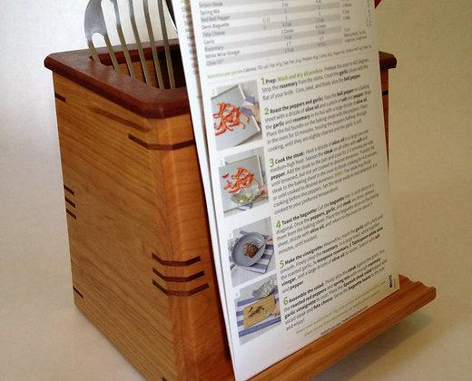 Cherry Wood Kitchen Utensil Holder/ IPad Stand