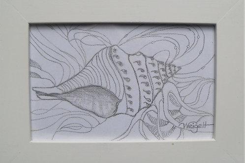 s/w Zeichnung gerahmt 18x13 cm