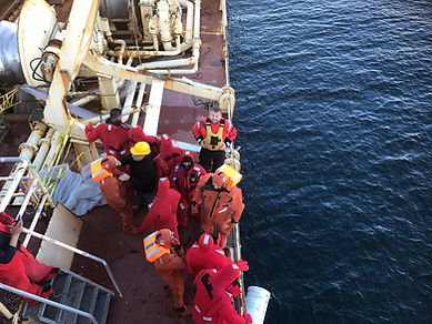Abandon ship in immersion suits