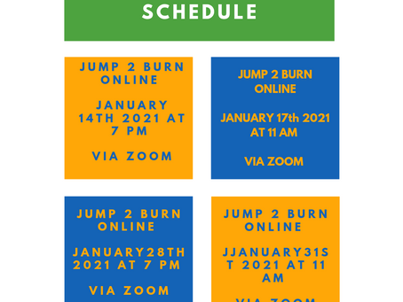 Jump Rope Class Schedule January 20201