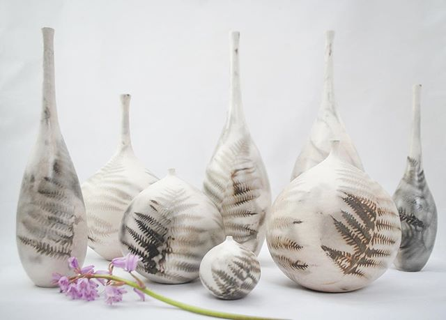 Smokefired fern vessels