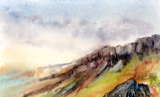 Stanage edge watercolour