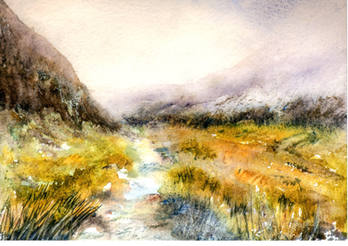 Misty mountain watercolour