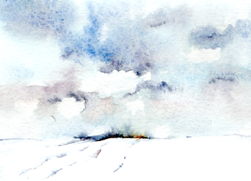 Snow Sky watercolour
