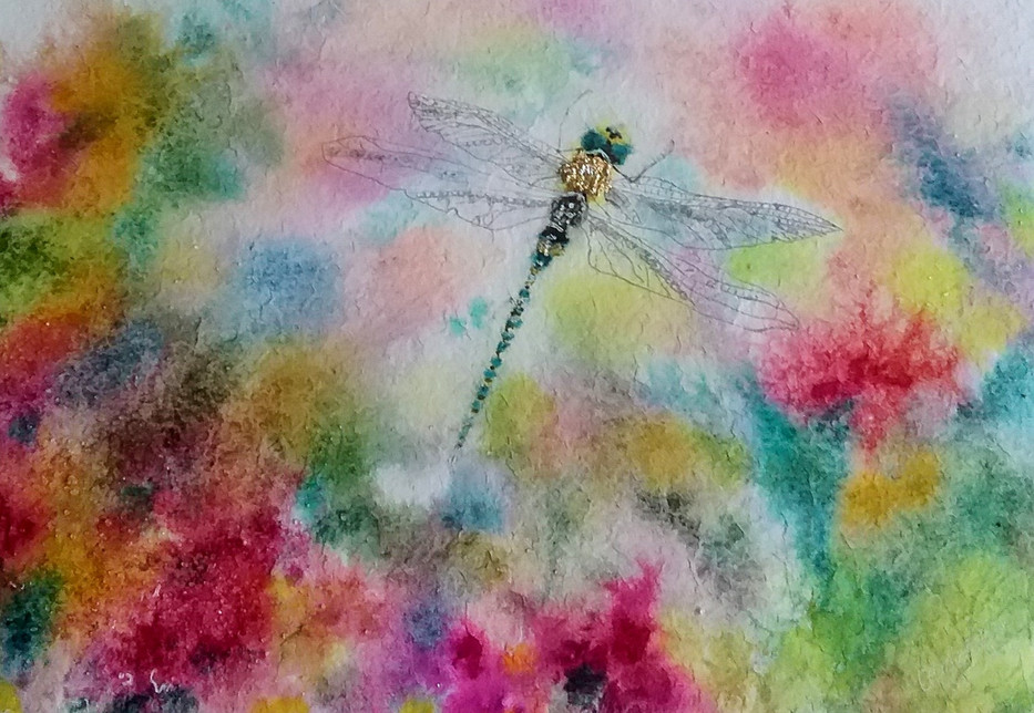 Intuitive and Expressivewatercolour of a damselfy by Carole Knight