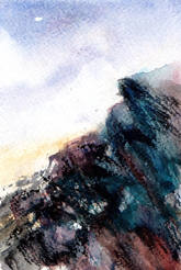 Rocks close up, watercolour