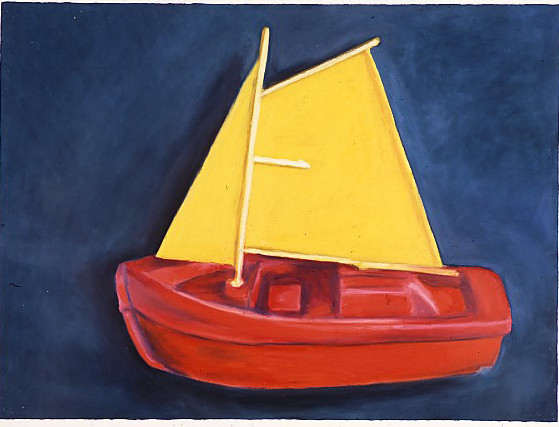 Red Boat With Yellow Sails