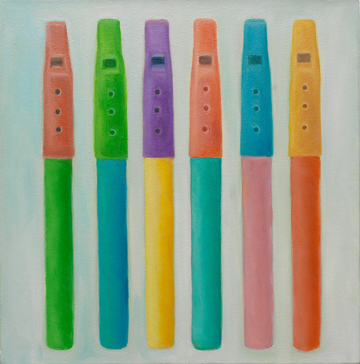 Flutes,1996,oil on canvas,19 3/8x19 1/8 in, 49.5x48.5cm