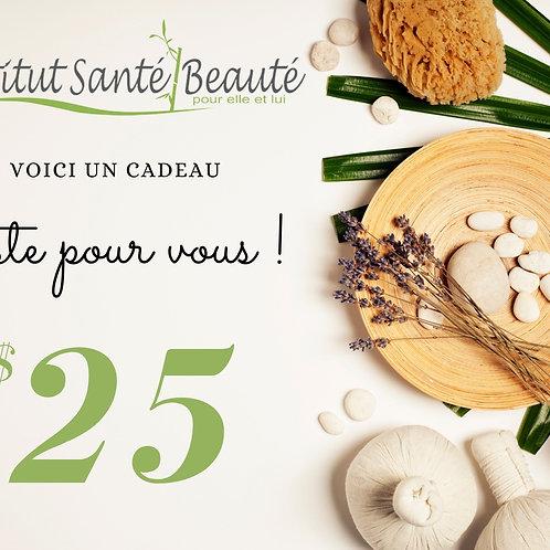 carte cadeau de 25$ Institut santé beauté