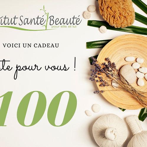 carte cadeau de 100$ Institut santé beauté