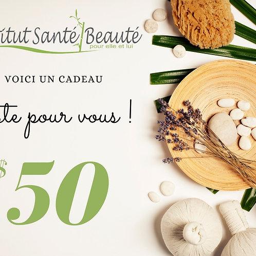 carte cadeau de 50$ institut santé beauté