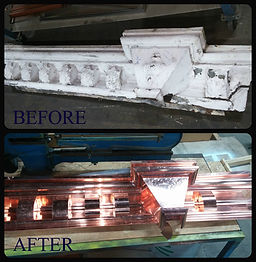 Before & After Custom Cornice with Attached Conductor Head
