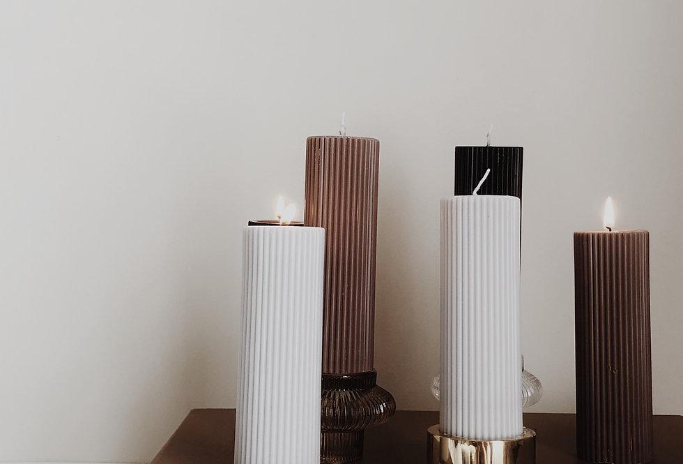 Short Ribbed Pillar Candle