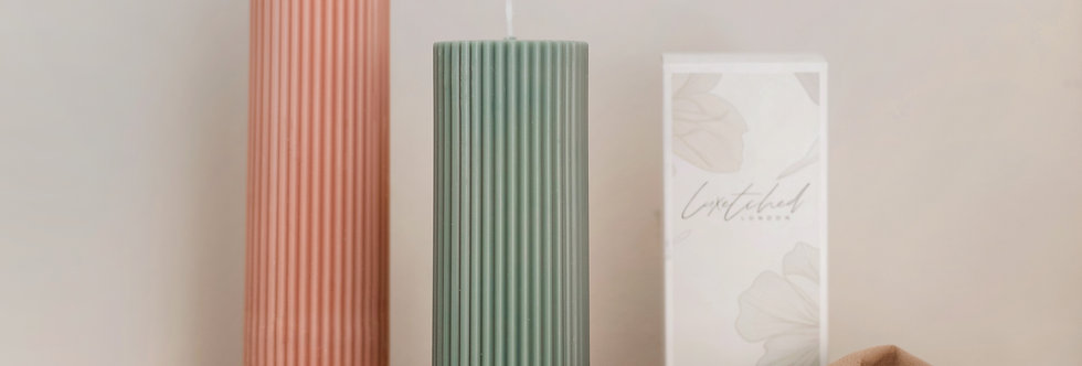 Summer Collection - Short Ribbed Pillar Candle