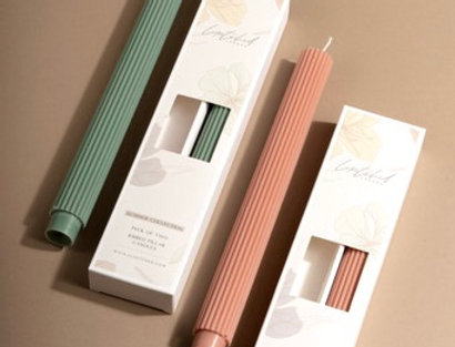 Summer Collection - Pack of 2 Ribbed Pillar Candles