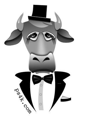 Cow in a tuxedo