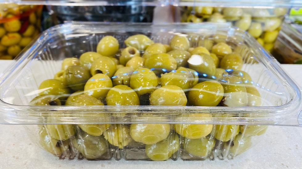 Olives vertes cassées à l'ail 500g