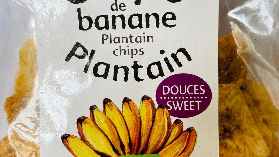 Chips de banane plantain ( douces) BIO