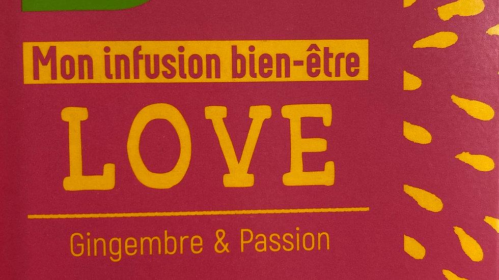 Infusion Bien-être LOVE: Gingembre & Passion BIO