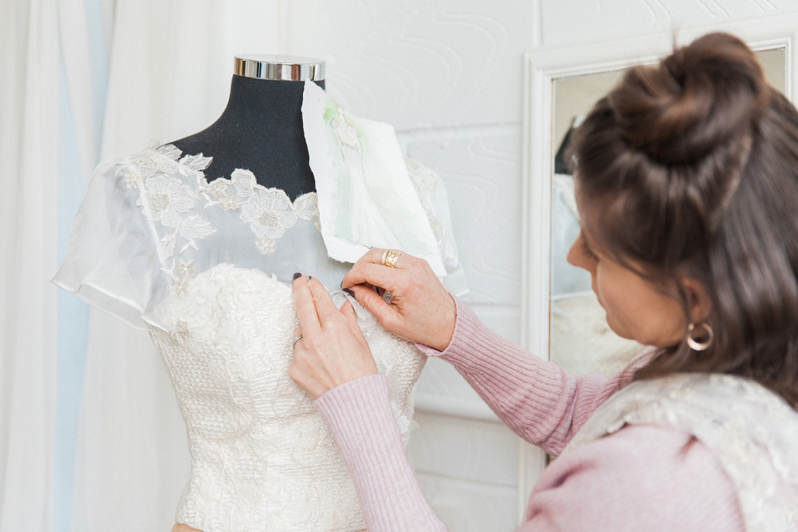 A bespoke wedding dress