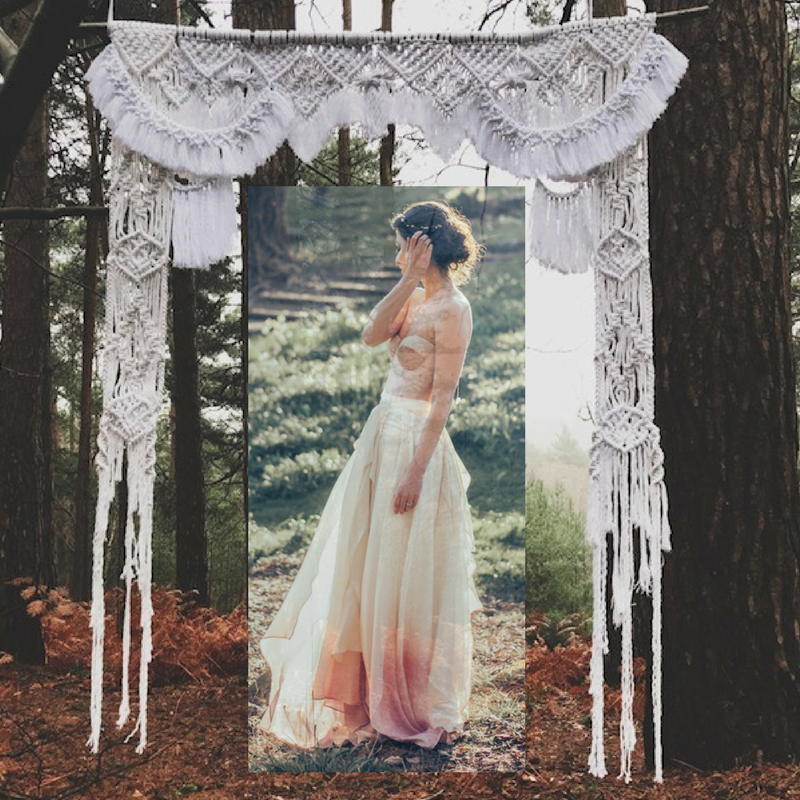 Macrame backdrop for weddings with Jessica Turner Designs dip dyed bridal wear