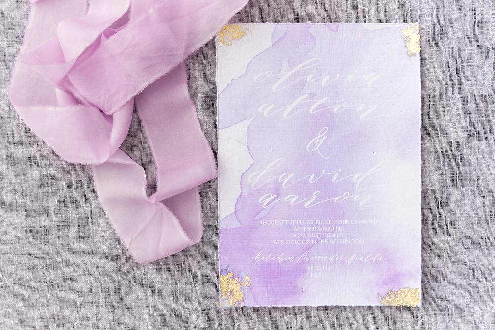 Lilac watercolour stationary and bridal ribbons.  Love and Lavender styled shoot.