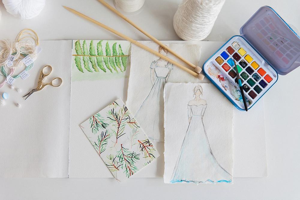 A sketch of bridal dresses for my brides Jessica Turner Designs