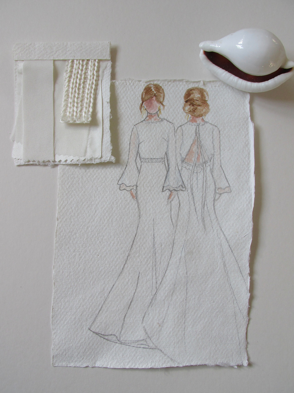 'Royal' wedding dress Jessica Turner Designs, modern sleek wedding dress with boho sleeves. A subtle boho wedding dress with a stunning low back