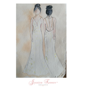 """""""Cosmos"""" wedding dress sketch by Jessica Turner Designs to support slow fashion"""