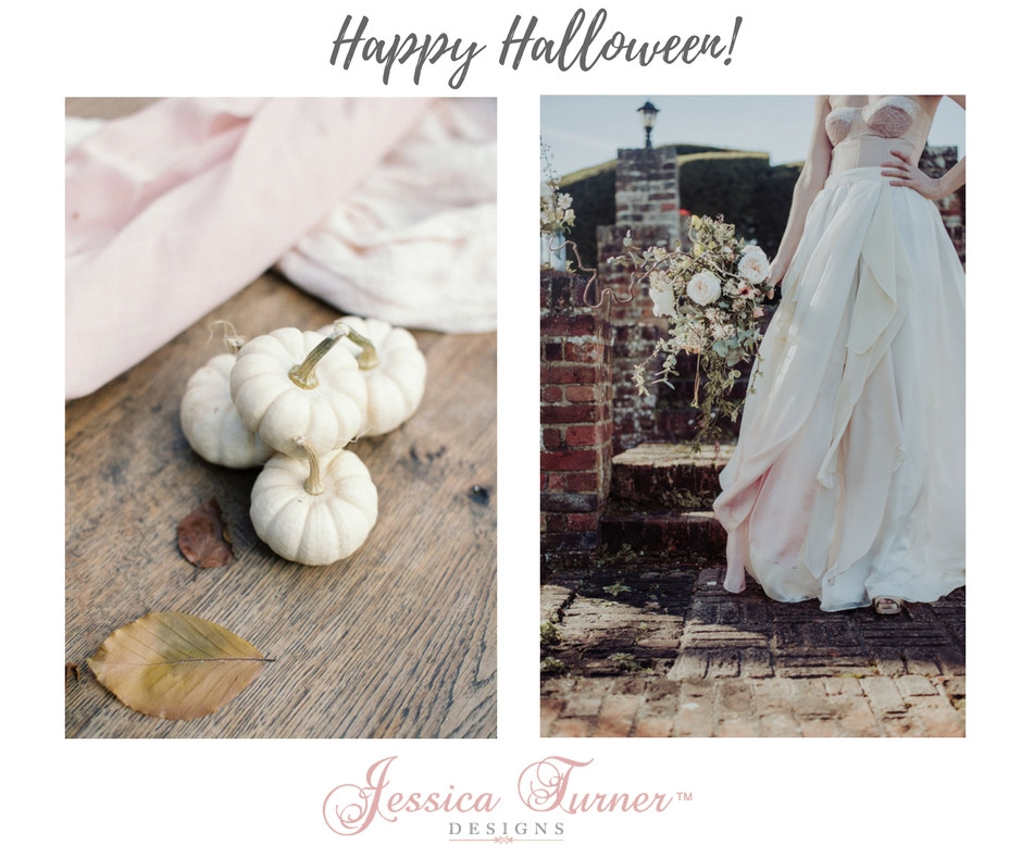Halloween themed wedding, pumpkins, corsets and dip dyed bridal skirts