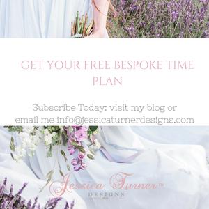 Bespoke Time Plan for a bespoke bride Jessica Turner Designs