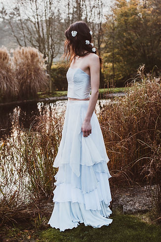 Dip dyed bridal skirt and dip dyed bridal silk knit bodice Jessica Turner Designs