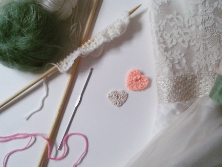 Crochet hearts, pretty knitted straps and belts.....