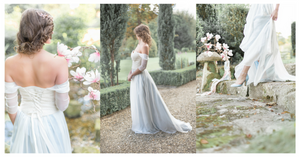 blue bridal skirt and off the shoulder wedding dress