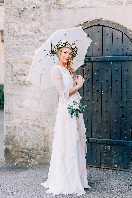 Boho bride wearing an ethical bridal dress Jessica Turner Designs