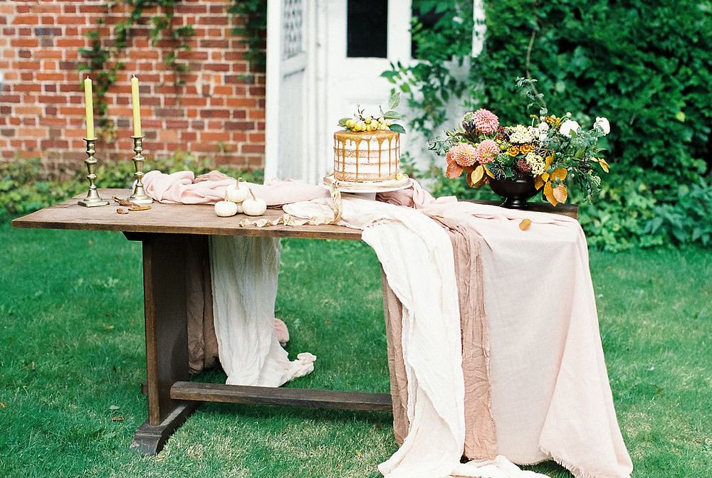 Table styling for an Autumn Wedding.  On Jessica Turner Designs blog