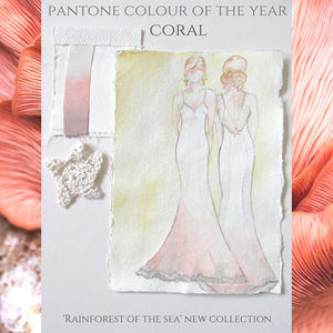 2019, pantone of the year coral Jessica Turner Designs stocked in Willoughby and Wolf bridal boutique Marlborough