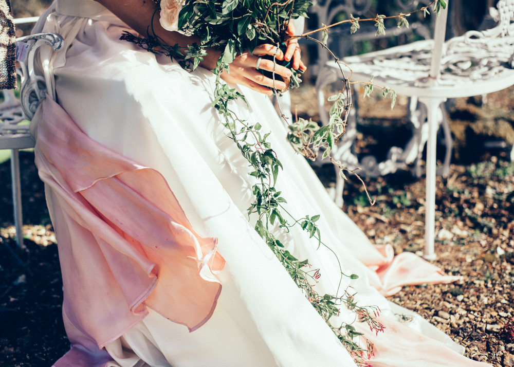 Pink ombre dip dyed wedding dress Jessica Turner Designs