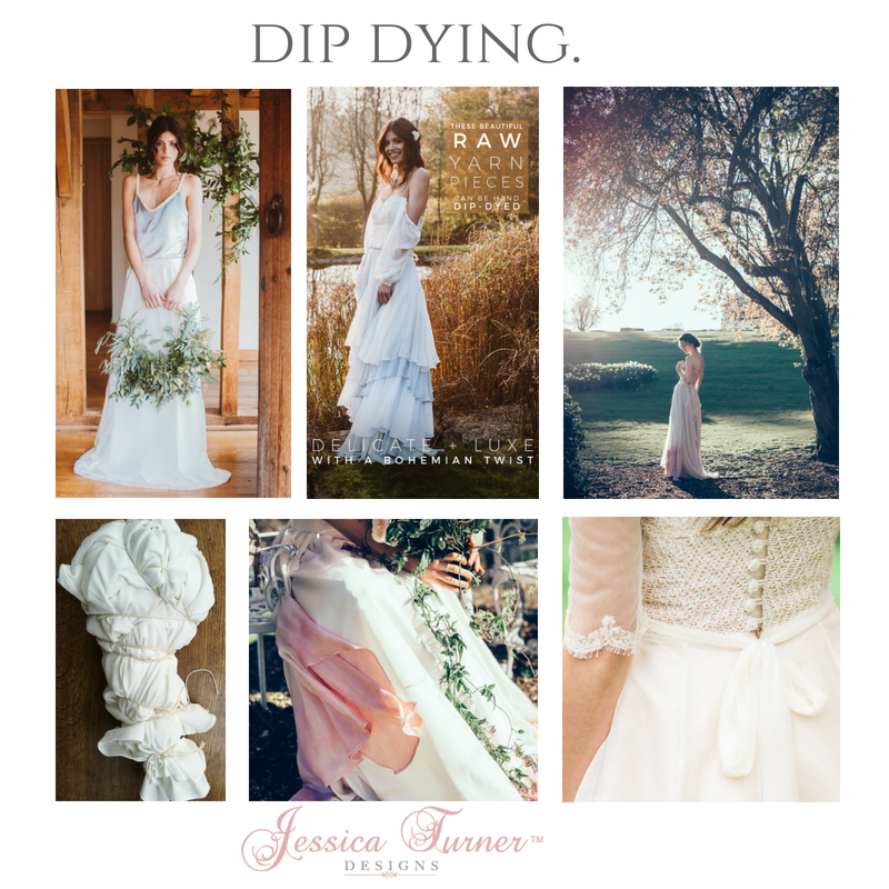 Dip dyed wedding dresses by Jessica Turner Designs