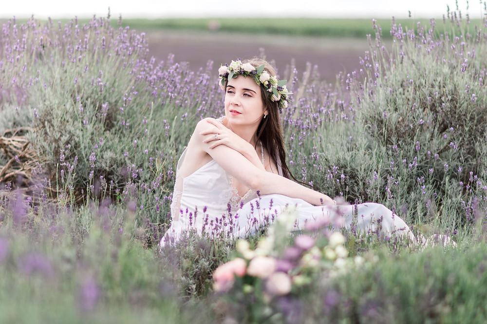 Boho bride in the lavender fields wearing a Jessica Turner Designs
