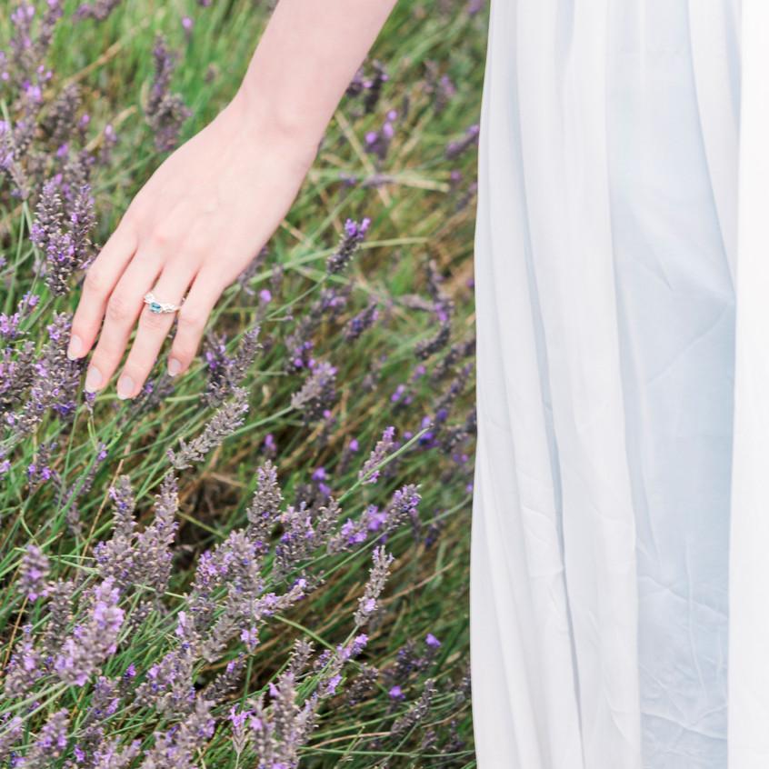 Walking through lavender fields