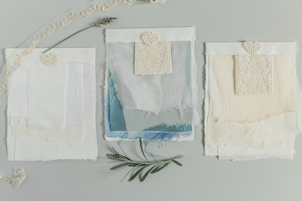 Jessica Turner Designs Bridal Fabric Packs, including dip dye, organic fabric and bamboo silk.