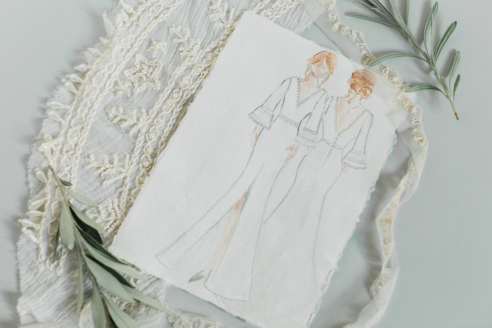 Jessica Turner Designs bridal collection on paper, slow fashion